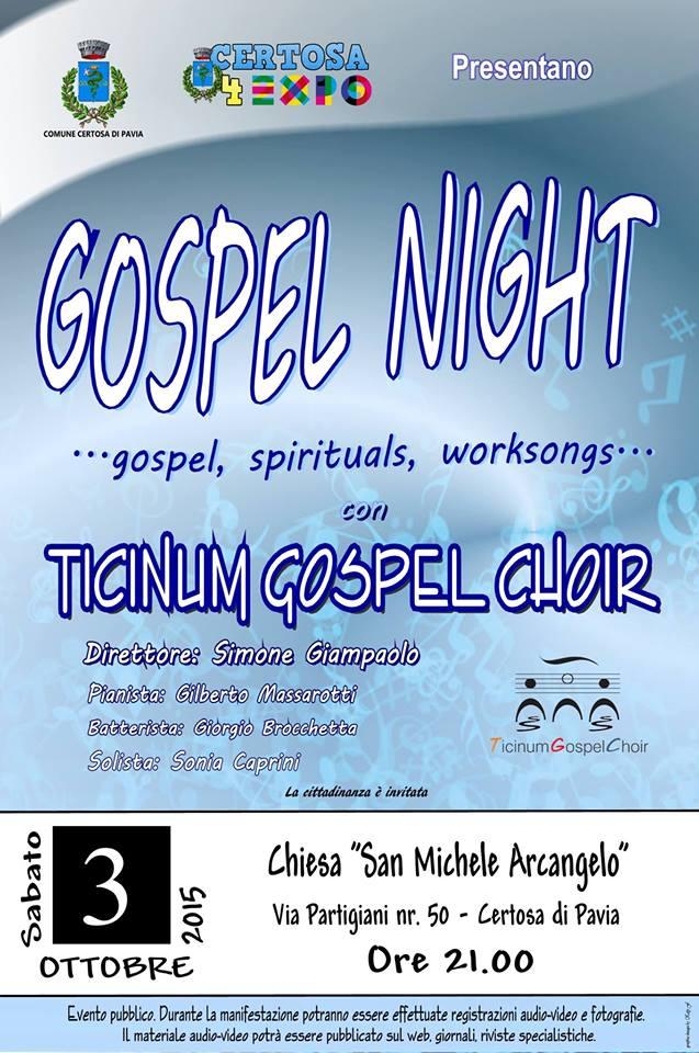 Concerto Gospel nella Chiesa di San Michele Arcangelo a Certosa di Pavia - 03 Ottobre 2015