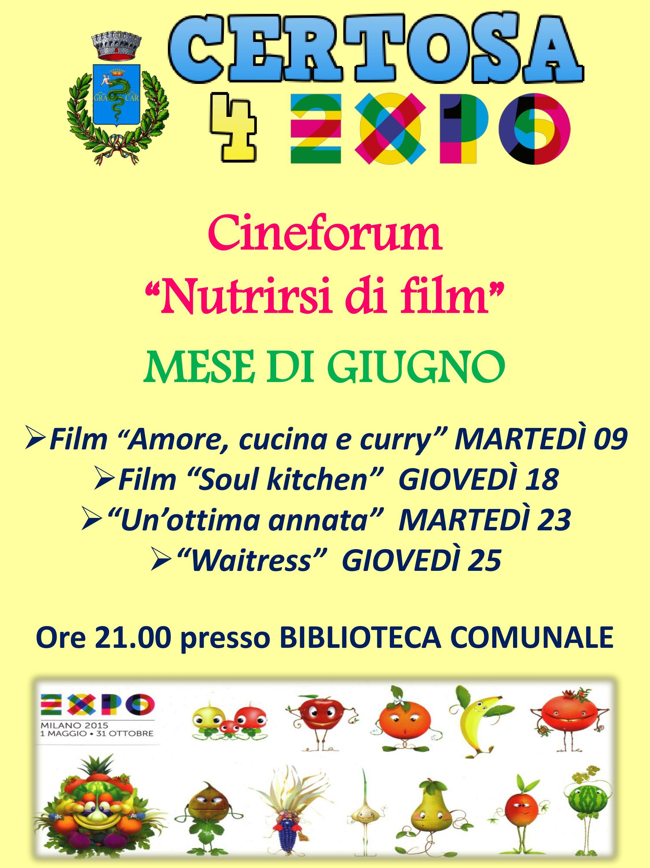 Programma Cineforum di giugno 2015 presso la Biblioteca Comunale di Certosa di Pavia
