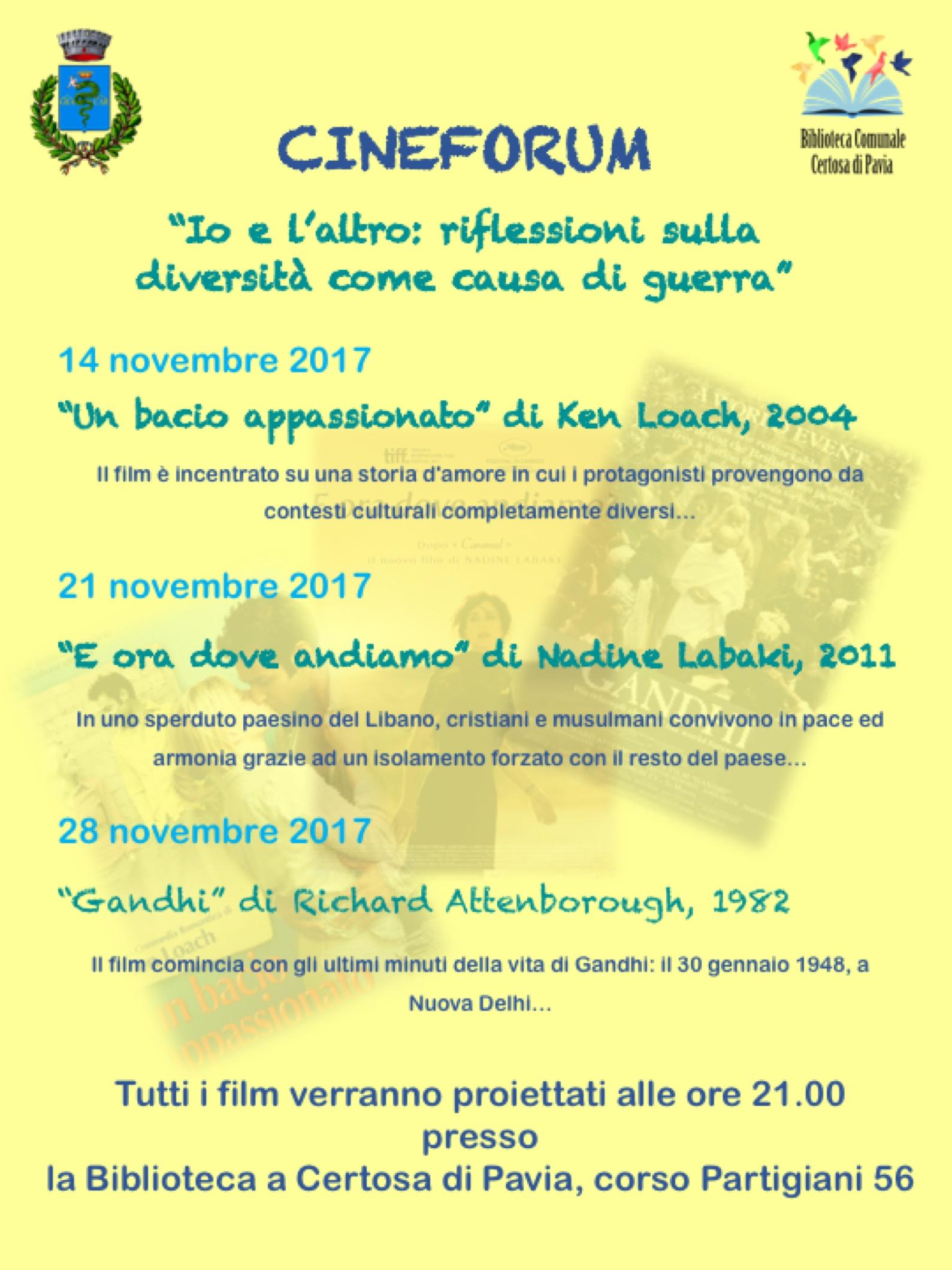Cineforum Novembre 2017 Biblioteca di Certosa di Pavia