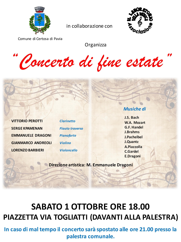 Concerto di fine estate a Certosa di Pavia - 1 ottobre 2016