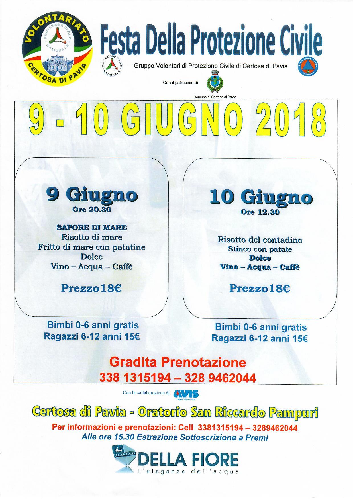 Festa della Protezione Civile di Certosa di Pavia - 9 e 10 giugno 2018