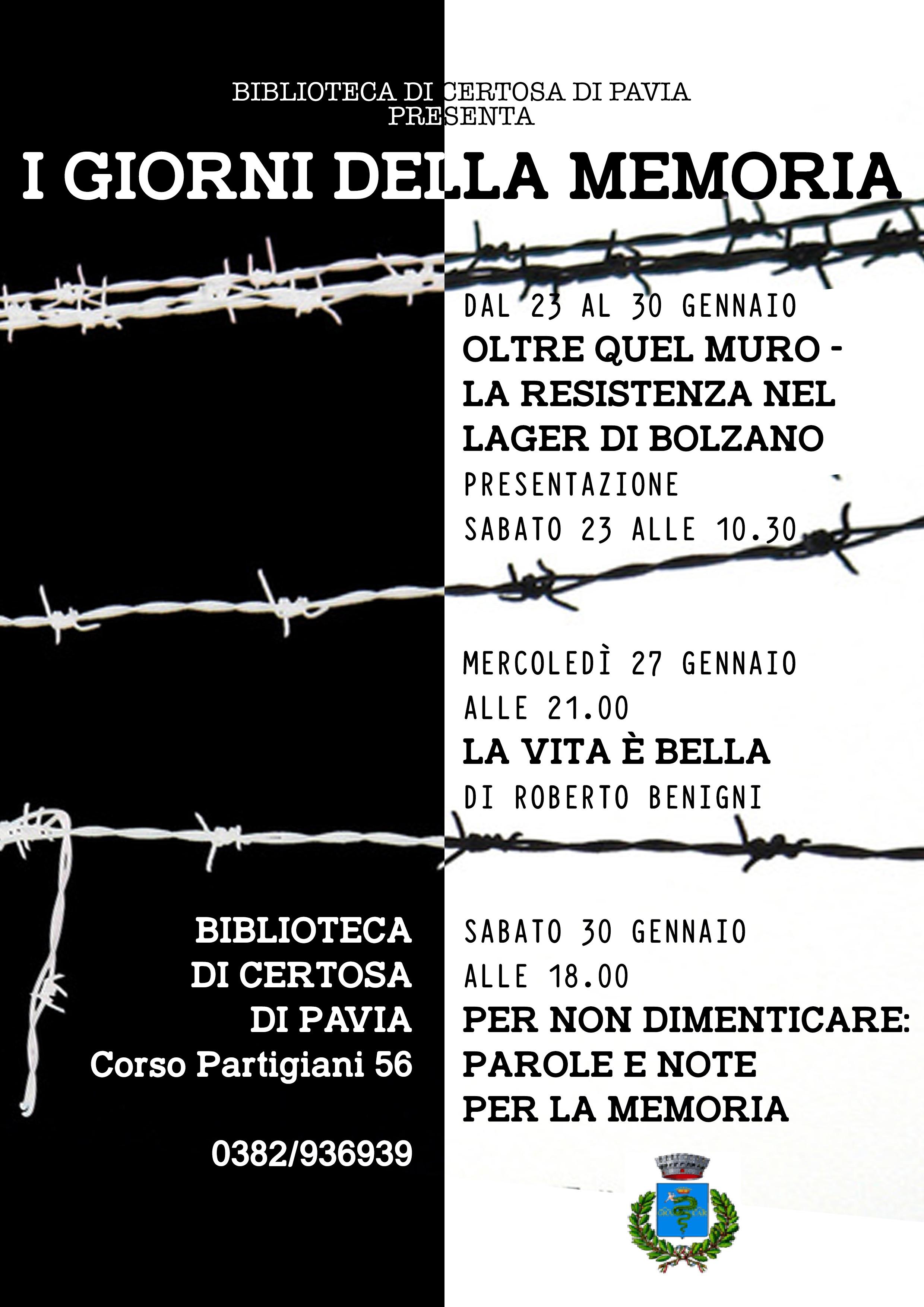I giorni della Memoria - Eventi di gennaio 2016 della Biblioteca di Certosa di Pavia