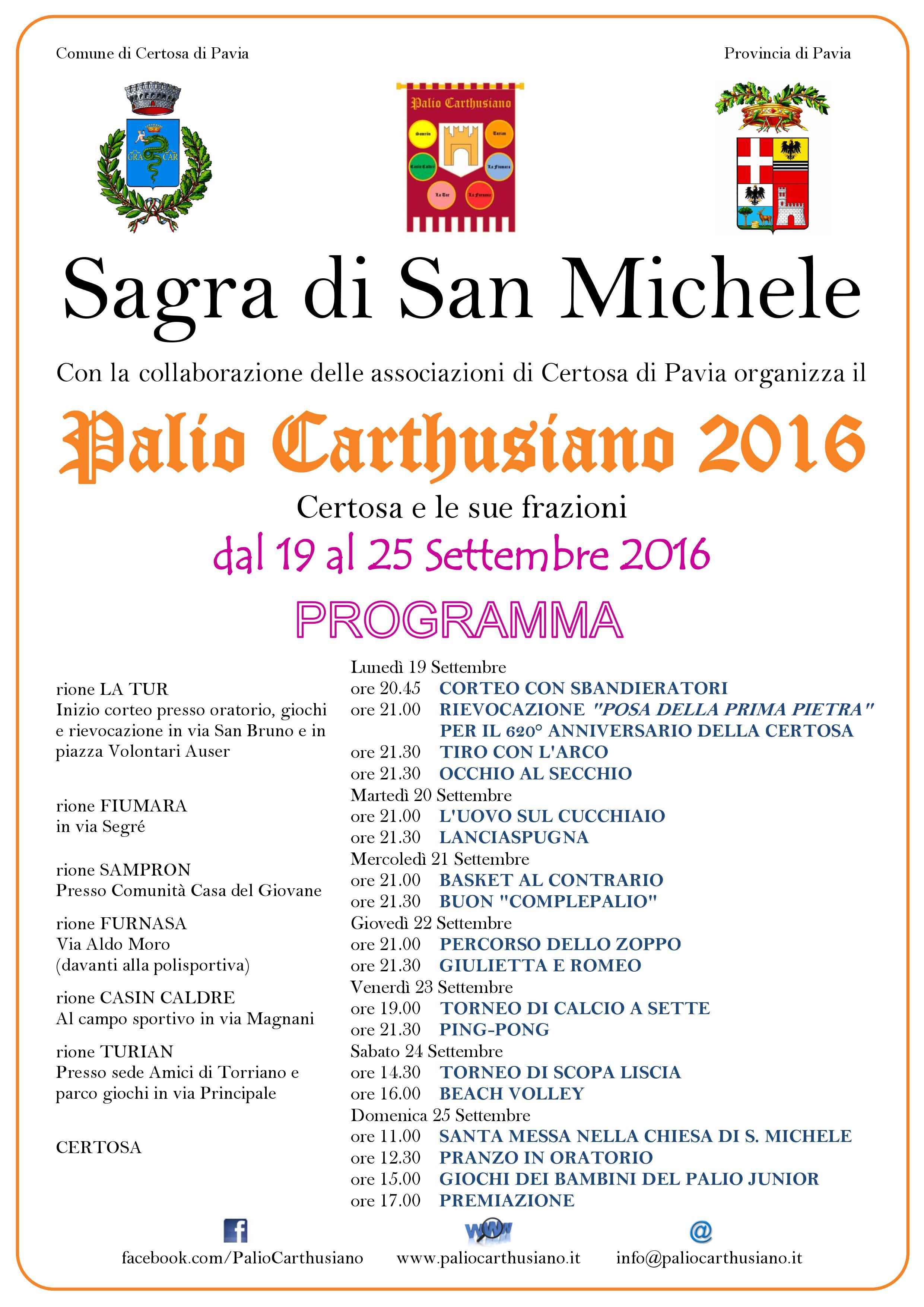 Palio Carthusiano di Certosa di Pavia dal 19 al 26 settembre 2016