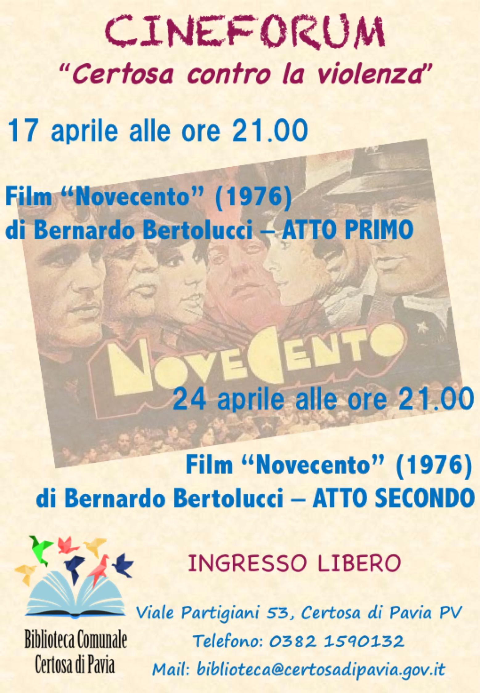 Cineforum aprile 2018 - Biblioteca di Certosa di Pavia